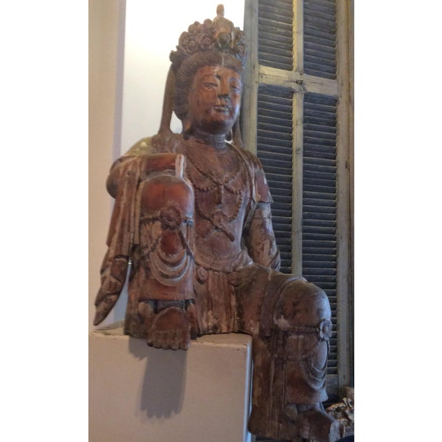 Asian Carved Wood Bodhisattva For Sale - Image 3 of 10