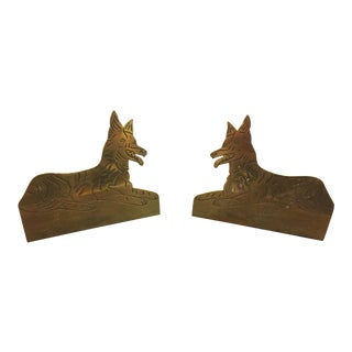 Early 20th Century Antique Hand Carved Brass Dog Figurines - A Pair For Sale
