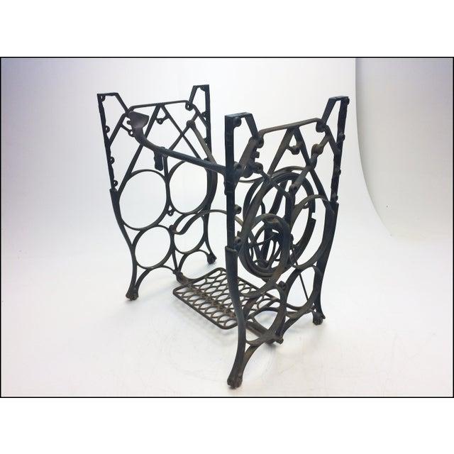 Vintage Industrial Black Iron Treadle Sewing Machine Base - Image 4 of 11