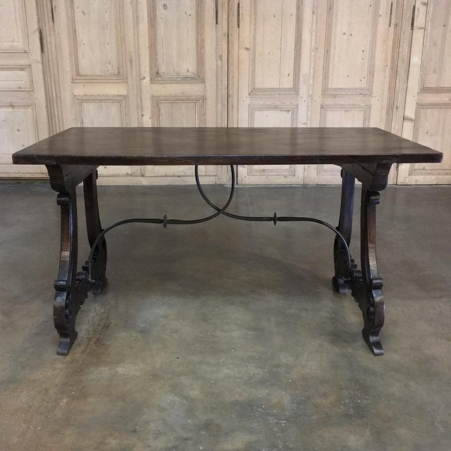 Spanish Dining Table, 19th Century, in Walnut and Wrought Iron For Sale - Image 9 of 13