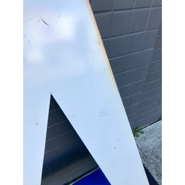 """White Large Vintage Blue & White Enamel Metal """"L"""" Building Signage For Sale - Image 8 of 12"""