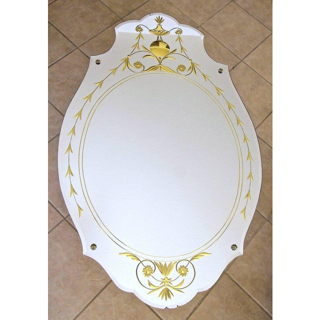 1930s Art Deco Etched Gold Wall Mirror For Sale - Image 10 of 11