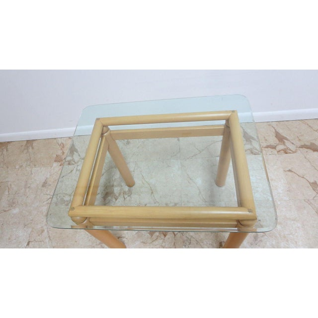 Art Deco Ethan Allen Floating Glass End Table For Sale - Image 3 of 7