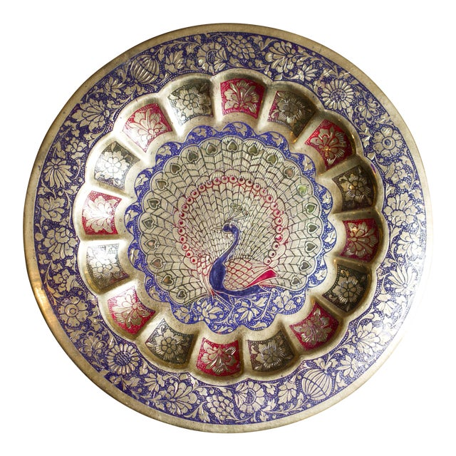 Vintage Indian Peacock Plate Tray For Sale