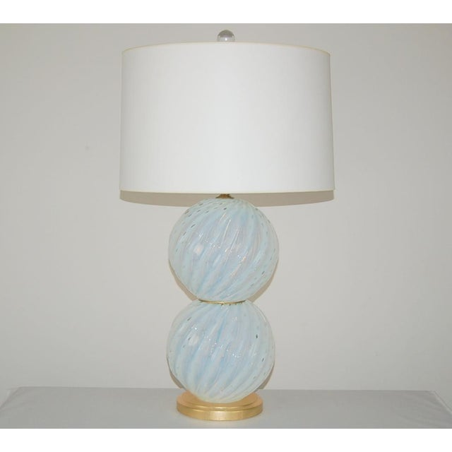 Vintage Murano White Opaline Glass Table Lamps For Sale - Image 9 of 12