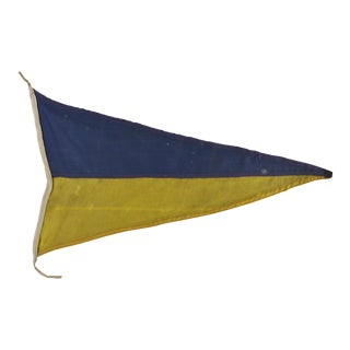 Vintage Navy Signal Flag in White Shadow Box Frame For Sale