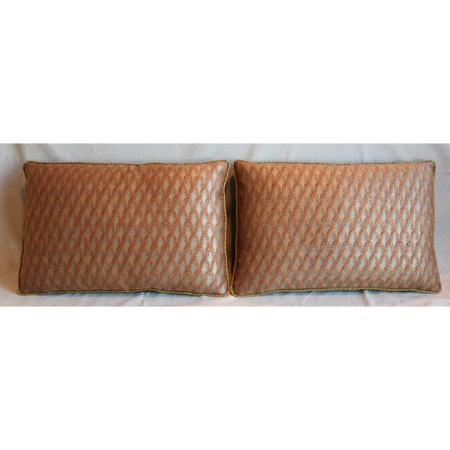 """Pair of custom-tailored reversible pillows in unused Italian Mariano Fortuny cotton fabric called """"Piumette"""" depicting a..."""