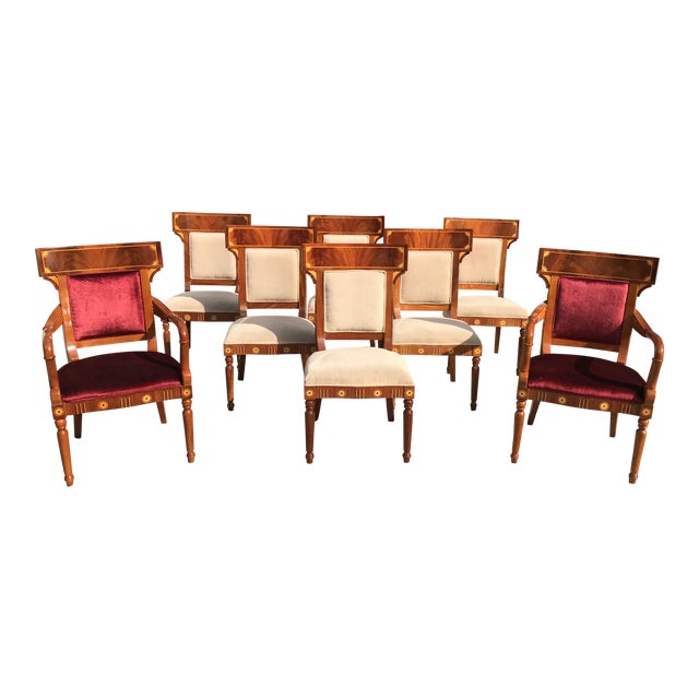1910s Vintage Biedermeier Style Flame Mahogany Dining Chairs- Set of 8 For Sale