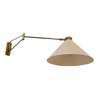 1960s French Wall Lamp With Brass Gallows For Sale
