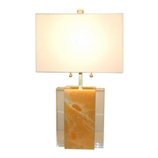 Calcite Stone Table Lamp Tangerine Orange For Sale