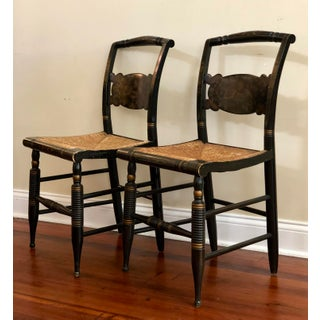 1940s Antique L. Hitchcock Rush Bottom Bolster Turtle Back Side Chairs- A Pair Preview
