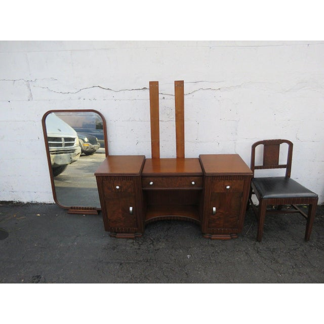 Wood Art Deco Walnut Set of Vanity Writing Desk With Mirror and Chair For Sale - Image 7 of 11