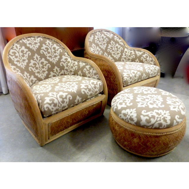Mid Century Rattan Chairs & Ottoman - A Pair - Image 3 of 8