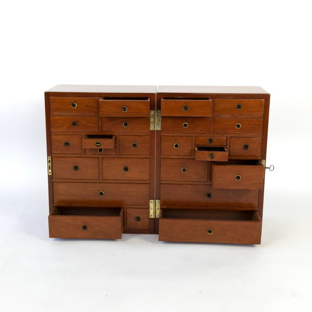 Metal Campaign Style Solid Mahogany Apothecary Chest, Circa 1860 For Sale - Image 7 of 10
