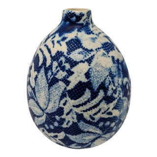 Cream and Navy Handmade Ceramic Vase For Sale