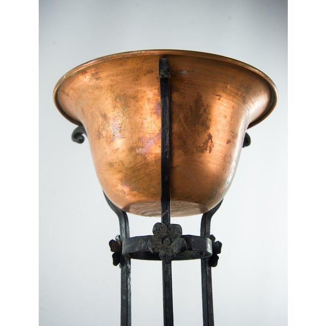 Antique Wrought Iron Copper Bowl Torchiere For Sale - Image 4 of 10