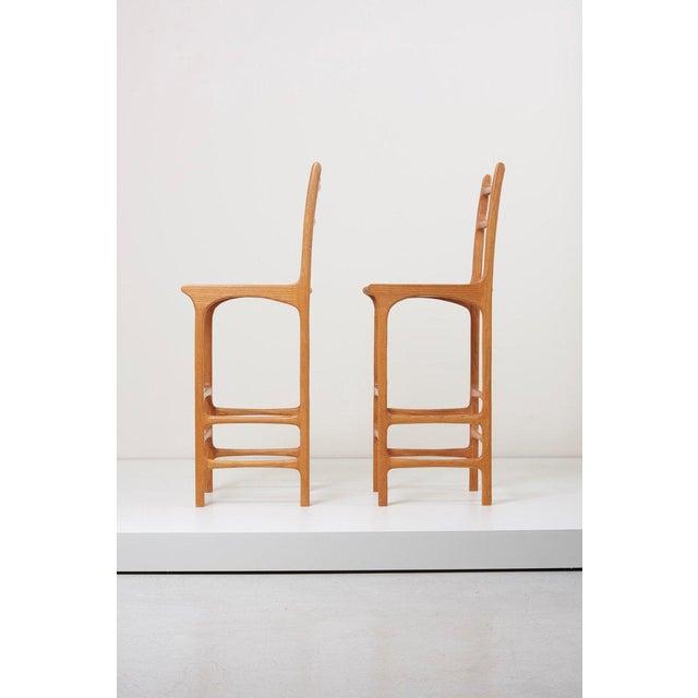 Pair of tall back studio bar stools in ash.