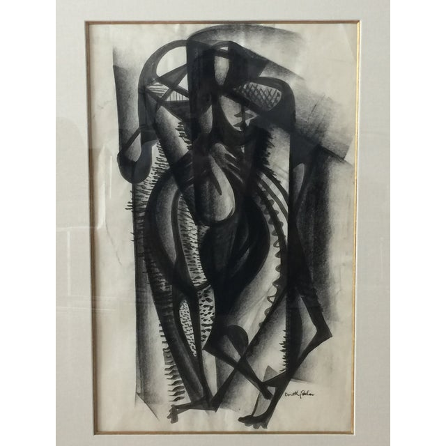 Framed Cubist Charcoal Painting - Image 4 of 8