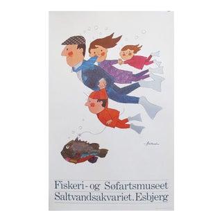 1968 Danish Design Poster, Fiskeri-Og Sofartsmuseet