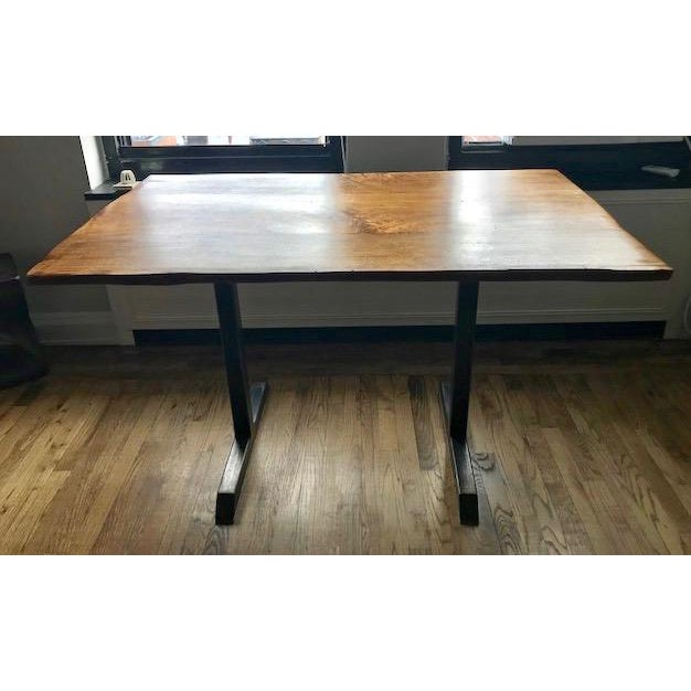 Custom Furniture Builders Contemporary Live Edge Black Walnut Table With Blackened Steel Pedestal Base For Sale - Image 4 of 7