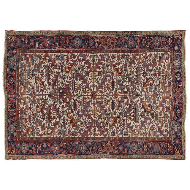Antique persian heriz area rug with modern tribal style 7 39 2 x 10 39 1 chairish - Wonderful persian living room designs buying tips for the rug ...