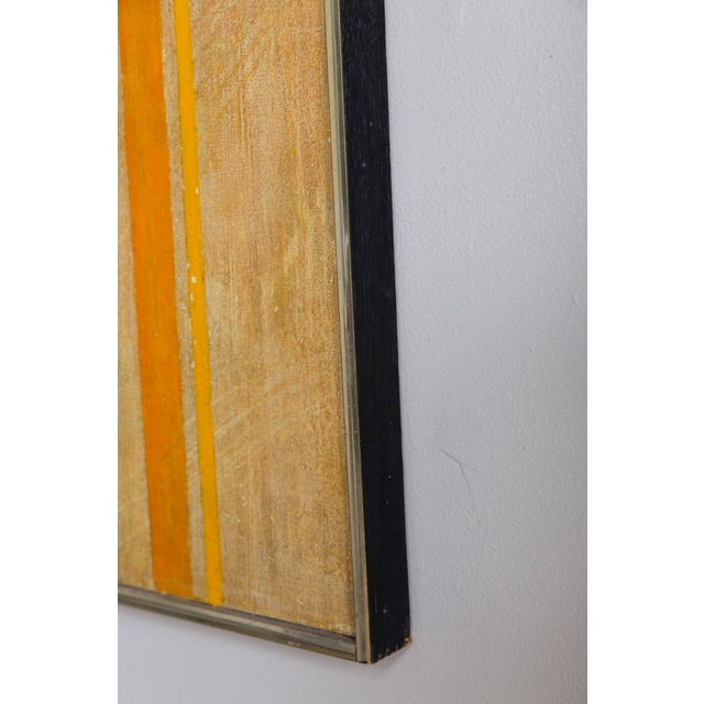 Impressive abstract painting by listed artist Mary Gardner. (1918 - 1998) Nicely framed in strip wood painted black with...