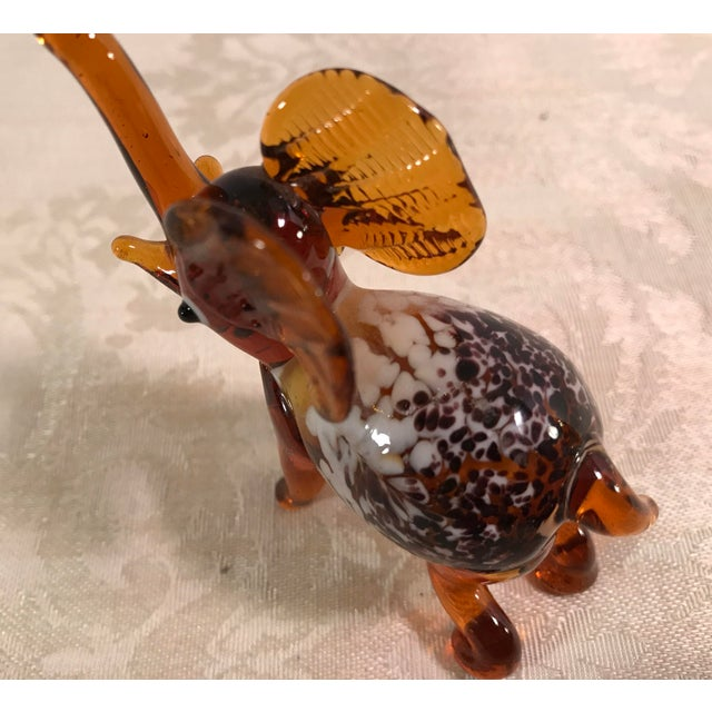 Vintage Blown Art Glass Brown Elephant - Image 7 of 8