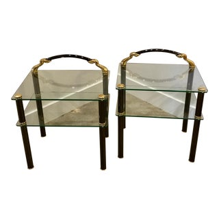 Vintage Mid-Century Brass and Glass Side Tables - a Pair For Sale