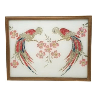 Antique American Folk Art Tinsel Painting of Mirrored Parrots & Cherry Blossoms on Glass Painting For Sale