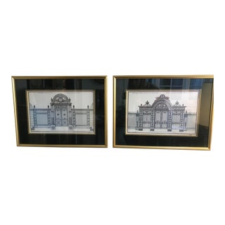 Late 20th Century Vintage French Architectural Drawing Prints- A Pair For Sale