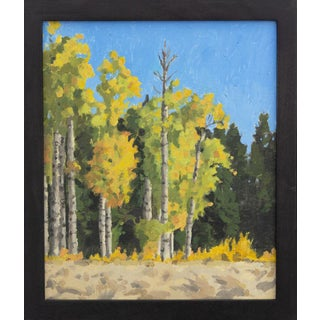 """""""Aspen Grove at Vesper Meadow"""" Contemporary Landscape Oil Painting, Framed For Sale"""