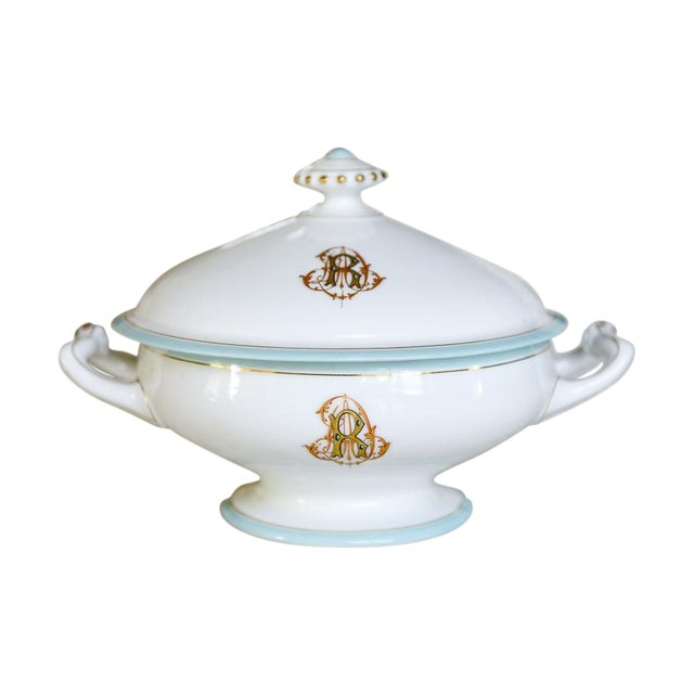 Antique French Porcelain Monogrammed Tureen For Sale