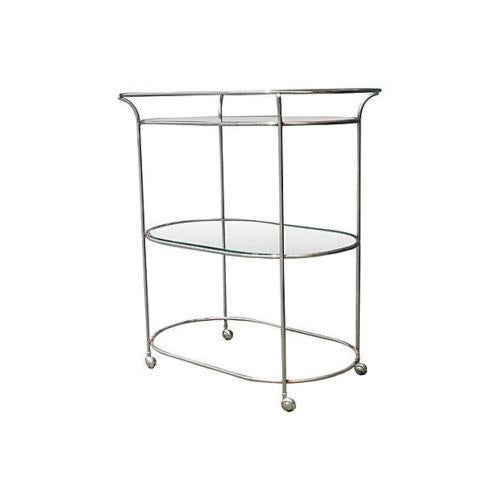 1970's Mid-Century Chrome & Metal Rolling Bar Cart - Image 3 of 4