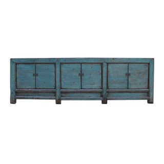 Chinese Distressed Teal Blue Lacquer Low Long Tv Console Cabinet For Sale