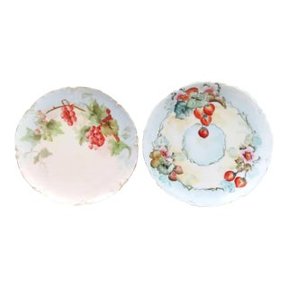 Antique Hand Painted Decorative Plates, a Pair For Sale