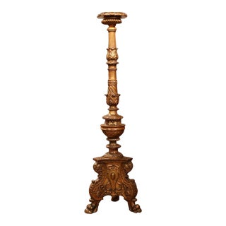 19th Century Italian Carved Altar Candlestick With Gilt Finish