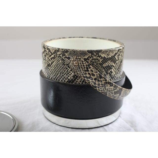 Faux Python Black & Chrome Ice Bucket - Image 4 of 8