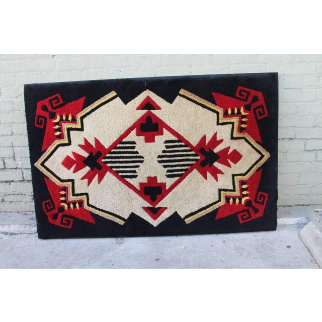 1930s Mounted Geometric Hand-Hooked Rug For Sale - Image 4 of 7