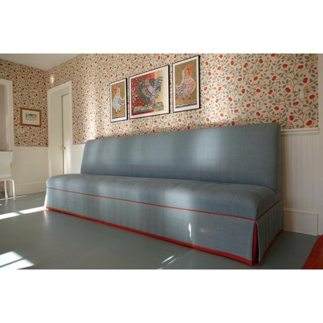 Fabric Custom Banquette Sofa in Tilton Fenwick Fabric For Sale - Image 7 of 7