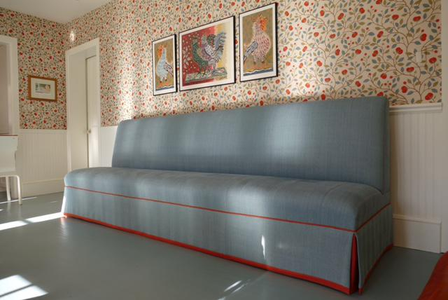 Superieur Fabric Custom Banquette Sofa In Tilton Fenwick Fabric For Sale   Image 7 Of  7