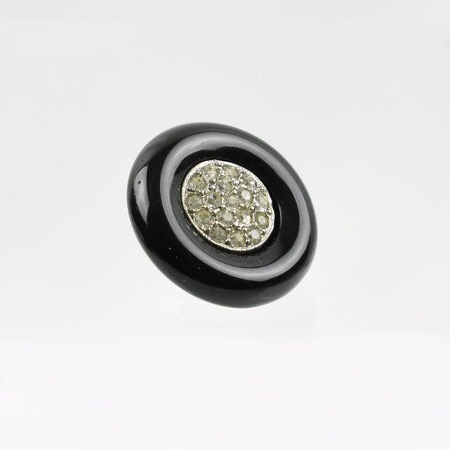 1990s Angela Caputi Black Resin and Clear Rhinestones Stud Earrings For Sale - Image 5 of 6