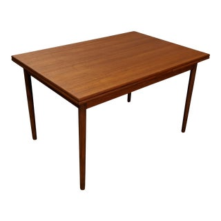 Vintage Danish Mid Century Teak Dining Table W Two Leaves - Butter For Sale