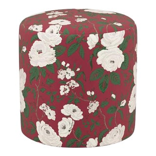 Drum Ottoman in Cranberry Chintz For Sale