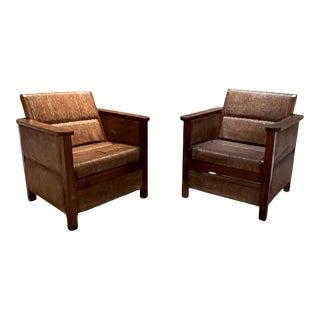 1950s Vintage Palmwood Armchairs - a Pair For Sale