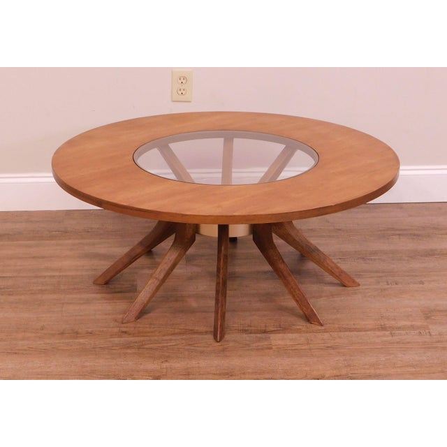 High Quality American Made Iconic 8 Leg Coffee Table with Inset Glass Top by Broyhill