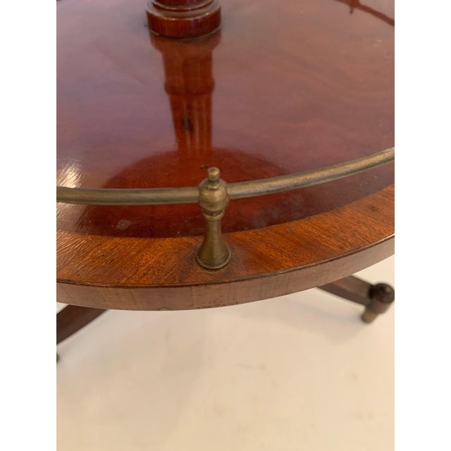 Wood Antique 2 Tier Mahogany and Tooled Leather Side Table For Sale - Image 7 of 13