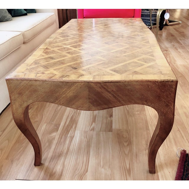 French Provincial Lovely Marquetry Wooden Inlay Coffee Table For Sale - Image 3 of 10