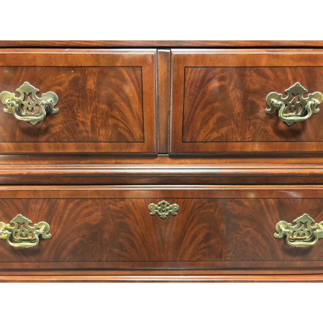 Brass Drexel Heritage Chippendale Flame Mahogany Queen Headboard For Sale - Image 7 of 12