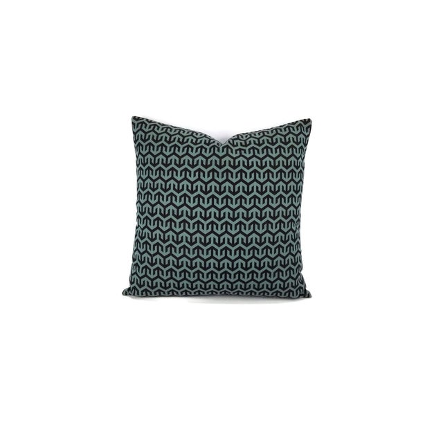 From Holly Hunt's collection, Great Outdoors is Anchors Aweigh in Turqs and Caicos. This pillow features black and teal in...