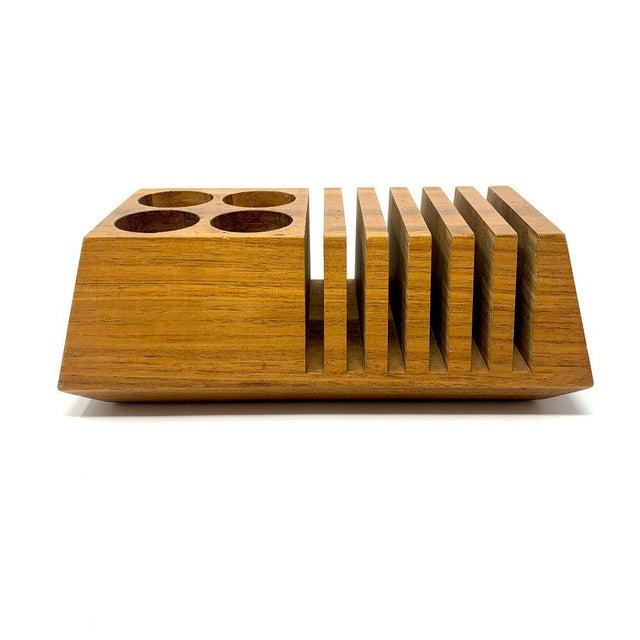 Mid-Century Modern Mid-Century Modern Geometric Wooden Desk Organizer For Sale - Image 3 of 13